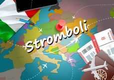 Ταξίδι πόλεων Stromboli και έννοια προορισμού τουρισμού Fla της Ιταλίας απεικόνιση αποθεμάτων