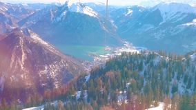 Ταξίδι τελεφερίκ Feuerkogel, Ebensee, Salzkammergut, Αυστρία απόθεμα βίντεο