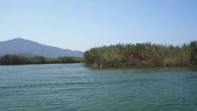 Ταξίδι τουριστών Rriver κατά μήκος της πράσινης ακτής κατά την άποψη της Τουρκίας απόθεμα βίντεο