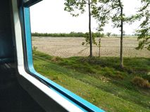 Ταξίδι τραίνων μέσω του καθίσματος παραθύρων επιβατών ταξιδιών τομέων γεωργίας στοκ εικόνα