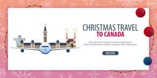 Ταξίδι Χριστουγέννων στον Καναδά Χιόνι και βράχοι βαρκών επίσης corel σύρετε το διάνυσμα απεικόνισης Στοκ Φωτογραφίες