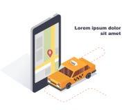 Ταξί αυτοκινήτων Σε απευθείας σύνδεση κινητή app υπηρεσιών διαταγής ταξί έννοια Isometric τρισδιάστατη μεταφορά των επιβατών στο  ελεύθερη απεικόνιση δικαιώματος