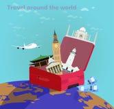 Ταξίδι αερογραμμών σε όλο τον κόσμο απεικόνιση αποθεμάτων