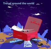 Ταξίδι αερογραμμών σε όλο τον κόσμο διανυσματική απεικόνιση