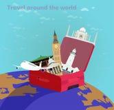 Ταξίδι αερογραμμών σε όλο τον κόσμο ελεύθερη απεικόνιση δικαιώματος