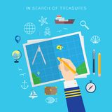 Ταξίδι για θάλασσας θησαυρών το επίπεδο σύνολο εικονιδίων ύφους διανυσματικό απεικόνιση αποθεμάτων