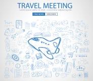 Ταξίδι για την επιχειρησιακή έννοια με το ύφος σχεδίου Doodle απεικόνιση αποθεμάτων