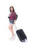 Ταξίδι γυναικών Νέος όμορφος ασιατικός ταξιδιώτης γυναικών με τη βαλίτσα Στοκ Φωτογραφία