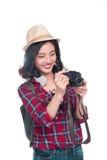 Ταξίδι γυναικών Νέος όμορφος ασιατικός ταξιδιώτης γυναικών που παίρνει pictur Στοκ εικόνες με δικαίωμα ελεύθερης χρήσης