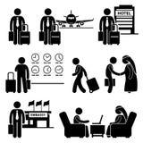 Ταξίδι επιχειρηματιών επαγγελματικού ταξιδιού διανυσματική απεικόνιση