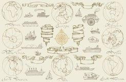 Ταξίδι θάλασσας με τα αναδρομικά σκάφη Στοκ εικόνα με δικαίωμα ελεύθερης χρήσης