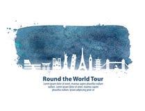 Ταξίδι Θέες του κόσμου επίσης corel σύρετε το διάνυσμα απεικόνισης Στοκ Φωτογραφία