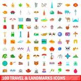 100 ταξίδι και εικονίδια ορόσημων καθορισμένα, ύφος κινούμενων σχεδίων Στοκ Φωτογραφία