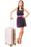 Ταξίδι και διακοπές Γυναίκα με την τσάντα αποσκευών βαλιτσών Στοκ φωτογραφία με δικαίωμα ελεύθερης χρήσης