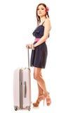 Ταξίδι και διακοπές Γυναίκα με την τσάντα αποσκευών βαλιτσών Στοκ Φωτογραφίες