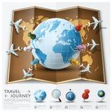 Ταξίδι και παγκόσμιος χάρτης ταξιδιών με τη διαδρομή Diag αεροπλάνων σημαδιών σημείου Στοκ Εικόνες