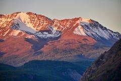 Ταξίδι μέσω των βουνών Altai σε Aktru Πεζοπορία στις χιονώδεις αιχμές των βουνών Altai Επιβίωση στους σκληρούς όρους, όμορφη φύση Στοκ Φωτογραφία