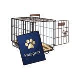 Ταξίδι με τις γάτες, σκυλιά - μεταφορέας καλωδίων μετάλλων και διαβατήριο κατοικίδιων ζώων ελεύθερη απεικόνιση δικαιώματος