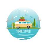 Ταξίδι με το αυτοκίνητο, παγκόσμιο ταξίδι, θερινό ταξίδι, απεικόνιση ταξιδιών Στοκ Εικόνες