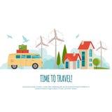 Ταξίδι με το αυτοκίνητο, παγκόσμιο ταξίδι, θερινό ταξίδι, ταξίδι, απεικόνιση τουρισμού Στοκ εικόνες με δικαίωμα ελεύθερης χρήσης