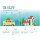 Ταξίδι με το αυτοκίνητο, παγκόσμιο ταξίδι, θερινό ταξίδι, ταξίδι, τουρισμός infographic Στοκ εικόνες με δικαίωμα ελεύθερης χρήσης