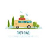 Ταξίδι με το αυτοκίνητο, παγκόσμιο ταξίδι, ταξίδι, θερινό ταξίδι, απεικόνιση τουρισμού Στοκ Εικόνα