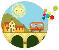 Ταξίδι με το λεωφορείο στην πόλη Στοκ Εικόνες