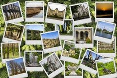 Ταξίδι μιγμάτων κολάζ μωσαϊκών με τις εικόνες των διαφορετικών θέσεων, των τοπίων και των αντικειμένων που βλασταίνονται από με σ Στοκ εικόνα με δικαίωμα ελεύθερης χρήσης