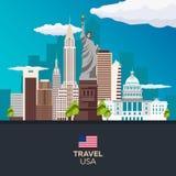 Ταξίδι ορίζοντας ΑΜΕΡΙΚΑΝΙΚΩΝ, Νέα Υόρκη αφισών ηλιοβασίλεμα αγαλμάτων της Νέας Υόρκης ελευθερίας πόλεων επίσης corel σύρετε το δ Στοκ Φωτογραφία
