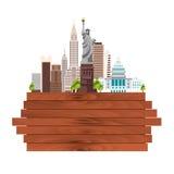 Ταξίδι ορίζοντας ΑΜΕΡΙΚΑΝΙΚΩΝ, Νέα Υόρκη αφισών ηλιοβασίλεμα αγαλμάτων της Νέας Υόρκης ελευθερίας πόλεων Ξύλινο πλαίσιο επίσης co Στοκ εικόνες με δικαίωμα ελεύθερης χρήσης