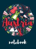 Ταξίδι ορόσημων της Αυστρίας και διανυσματικό σχέδιο Infographic ταξιδιών Πρότυπο σχεδίου χωρών της Αυστρίας Στοκ εικόνα με δικαίωμα ελεύθερης χρήσης