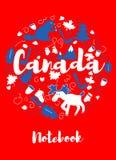 Ταξίδι ορόσημων του Καναδά και διανυσματικό σχέδιο Infographic ταξιδιών Πρότυπο σχεδίου χωρών του Καναδά Στοκ Φωτογραφίες