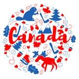 Ταξίδι ορόσημων του Καναδά και διανυσματικό σχέδιο Infographic ταξιδιών Πρότυπο σχεδίου χωρών του Καναδά Στοκ Φωτογραφία