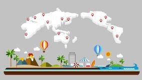 Ταξίδι πετάγματος για το νησί Γύρος παραλιών, πετώντας αεροπλάνο, ζωτικότητα απεικόνισης, διακοπές διανυσματική απεικόνιση