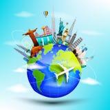 Ταξίδι πλανήτη Γη η παγκόσμια έννοια στο μπλε υπόβαθρο οριζόντων Στοκ Εικόνες