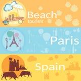 Ταξίδι σε όλο τον κόσμο: Γαλλία, Ισπανία, παραλίες, θέρετρα, εμβλήματα απεικόνιση αποθεμάτων