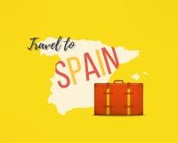 Ταξίδι στην έννοια της Ισπανίας Ισπανικό ταξιδιωτικό υπόβαθρο Χάρτης Espana με τη διακινούμενη βαλίτσα Στοκ φωτογραφίες με δικαίωμα ελεύθερης χρήσης