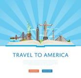 Ταξίδι στην αφίσα της Αμερικής με τη διάσημη έλξη Στοκ εικόνα με δικαίωμα ελεύθερης χρήσης