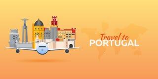 Ταξίδι στην Πορτογαλία Αεροπλάνο με την έλξη Εμβλήματα ταξιδιού Επίπεδο ύφος Στοκ φωτογραφίες με δικαίωμα ελεύθερης χρήσης