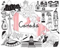 Ταξίδι στο εικονίδιο σχεδίων του Καναδά doodle Στοκ Εικόνες