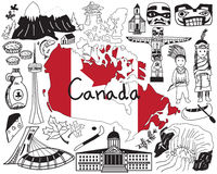 Ταξίδι στο εικονίδιο σχεδίων του Καναδά doodle Στοκ εικόνα με δικαίωμα ελεύθερης χρήσης