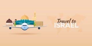 Ταξίδι στο Ισραήλ Αεροπλάνο με την έλξη Εμβλήματα ταξιδιού Επίπεδο ύφος Στοκ Εικόνες