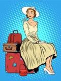 Ταξίδι ταξιδιού ταξιδιωτικών αποσκευών κοριτσιών Στοκ Εικόνα
