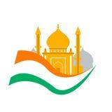 Ταξίδι της Ινδίας Ημέρα της ανεξαρτησίας Ινδία Σημαία με το παλάτι Τουρισμός παραδοσιακός Στοκ Εικόνα