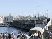 Ταξίδι της Ιστανμπούλ και ιστορική γέφυρα μουσουλμανικών τεμενών και galata Στοκ Εικόνες