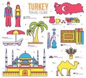 Ταξίδι της Τουρκίας χώρας των αγαθών, των θέσεων και των χαρακτηριστικών γνωρισμάτων στο λεπτό σχέδιο ύφους γραμμών Σύνολο αρχιτε Στοκ Εικόνες