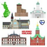 Ταξίδι του Ελσίνκι που τίθεται με την αρχιτεκτονική Επίσκεψη Φινλανδία απεικόνιση αποθεμάτων