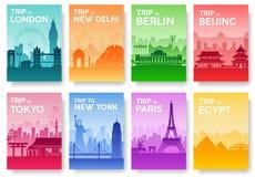 Ταξίδι του παγκόσμιου φυλλάδιου με το σύνολο τυπογραφίας Εικονίδιο χωρών της Αγγλίας Χώρα της Αγγλίας Χώρα της Ινδίας Χώρα της Γε Στοκ Εικόνες