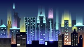 Ταξίδι χωρών κωμοπόλεων κτηρίων αρχιτεκτονικής ύφους νέου νύχτας ΑΜΕΡΙΚΑΝΙΚΩΝ πόλεων Στοκ φωτογραφία με δικαίωμα ελεύθερης χρήσης