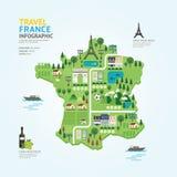 Ταξίδι Infographic και σχέδιο προτύπων μορφής χαρτών της Γαλλίας ορόσημων Στοκ Εικόνες
